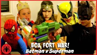 Download BOX FORT WAR! Nerf War Batman v Superman w Kid Deadpool Spiderman SuperHero Kids real life movie Video