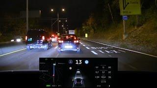 Download Tesla Model X v8.0 autopilot long test Video