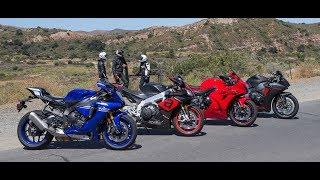 Download Yamaha YZF-R1 vs. Aprilia RSV4 RR vs. Suzuki GSX-R1000 vs. Honda CBR1000RR On The Street Review Video