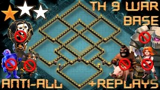 Download TH 9 (TOWN HALL 9) ANTI 2 STARS WAR BASE 2017 || ANTI ALL TROOPS || REPLAY PROOF || CLASH OF CLANS Video
