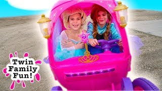Download Elsa & Anna Bloopers, Outtakes and Behind the Scenes - Fun with Princess Carriage Power Wheels! Video
