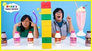 Download Twin Telepathy Milkshake Challenge with Ryan's Mommy vs Daddy! Video