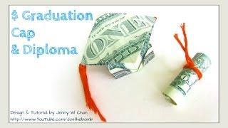 Download DIY How to Fold $2 Money Origami Graduation Cap & Diploma - Dollar Origami Graduation Gift Idea Video