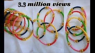 Download Thin bangle set - Making with silk thread | jewellery tutorials Video