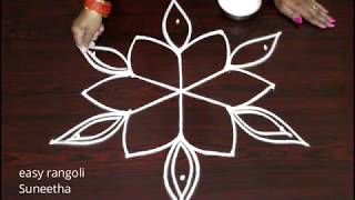 Download Latest Friday kolam designs with 5 dots easy n simple muggulu by Suneetha Video