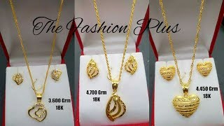 Download Saudi 18k Gold Light Weight Necklaces Sets Designs with Weight |Gold Chain Pendants and Earrings Video