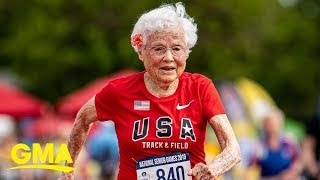 Download 103-year-old nicknamed the 'Hurricane' wins yet another gold in 100-meter dash | GMA Video