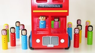 Download Double decker London bus wooden toy educational video learn colors 3d geometrical shapes Video