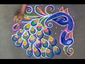 Download Peacock rangoli designs with dots // kolam designs with dots // muggulu designs with dots Video