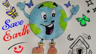 Download How To Draw SAVE EARTH And SAVE WATER Coloring Cartoon Drawing For Kids || Save Environment Drawing Video