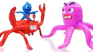 Download CLAY MIXER CATCH KING CRAB AND HUGE OCTOPUS 💖 Play Doh Cartoons Stop Motion Video
