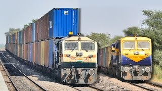 Download Single vs DOUBLE Stack CONTAINER Train : Indian Railways Video