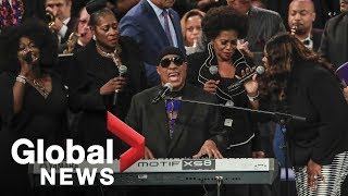 Download Aretha Franklin funeral: Stevie Wonder's FULL performance Video