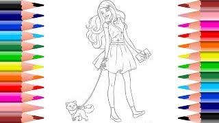 Download ระบายสี บาร์บี้กับแมวน่ารัก |Coloring page BARBIE. Video