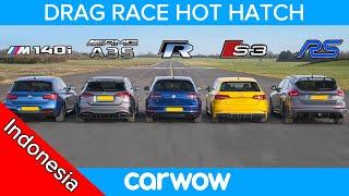 Download AMG A35 v BMW M140i v Golf R v Audi S3 v Focus RS - DRAG RACE, ROLLING RACE & TES PENGEREMAN Video