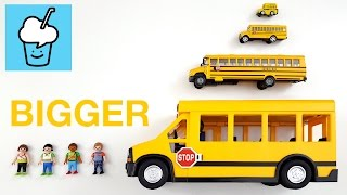 Download Learning bigger and bigger for kids with playmobil school bus Video