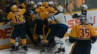 Download Penalty Boxes Fill After Scheifele Puts Puck into Net After Whistle - Jets vs Predators Scrum Video