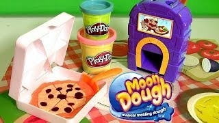 Download Pizzeria Moon Dough Pan Pizza Playset with Magical Oven Toy - Play Doh Kitchen Baking Toy Video