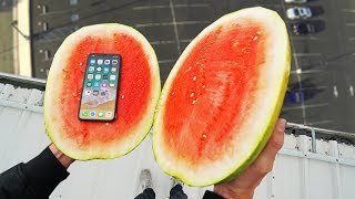 Download CAN A WATERMELON PROTECT iPhone X from 100ft DROP TEST!? Video