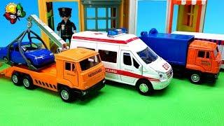 Download شاحنة إطفاء ، شاحنة سحب ، خلاطة خرسانة ، شاحنة لجمع القمامة. الكرتون والتفريغ Video