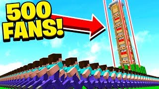 Download 500 FANS vs WORLD'S TALLEST & SAFEST MINECRAFT HOUSE! Video