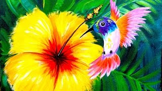 Download Hummingbird and Hibiscus Flower Learn to paint for Beginners Angelooney Video