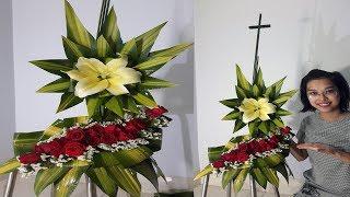 Download Cắm hoa bàn thờ tập 61 | Hoa Lily vàng ,hoa Hồng Đỏ Lẳng 2 tầng Video