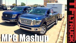 Download 2016 Nissan Titan XD Gas vs Diesel, Towing vs Empty Highway MPG Review Video