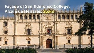 Download Façade of San Ildefonso College, Alcalá de Henares, SPAIN Video