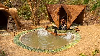 Download Build Resort House on the swimming pool in the forest | Primitive Technology , Building Skill Video