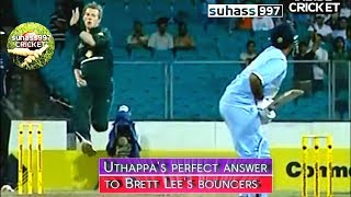 Download 3 NO BALLS and Lee forgets how to bowl ! ROBIN UTHAPPA's PERFECT ANSWER TO BRETT LEE's BOUNCERS !! Video