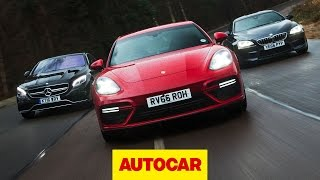 Download Porsche Panamera Turbo v BMW M6 v Mercedes-AMG S 63: Ultimate luxury sports cars tested | Autocar Video