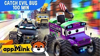 Download appMink car animation – Fun Cartoon with Police Car, Fire Truck and Helicopter catching Evil Bus Video