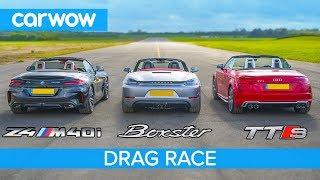 Download BMW Z4 M40i v Porsche Boxster GTS vs Audi TT-S - DRAG RACE, ROLLING RACE & BRAKE TEST Video
