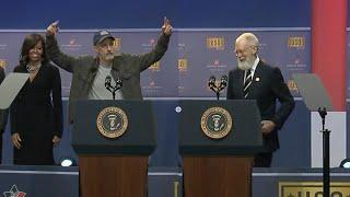 Download Bearded David Letterman & Jon Stewart Crack Up USO Video