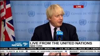 Download British Foreign Secretary, Boris Johnson addressing the UN and press Video