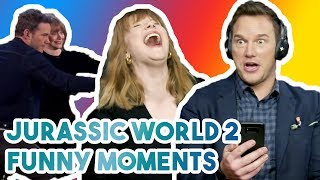 Download CHRIS PRATT & BRYCE DALLAS HOWARD CANT STOP LAUGHING | FUNNY MOMENTS JURASSIC WORLD 2 2018 Video