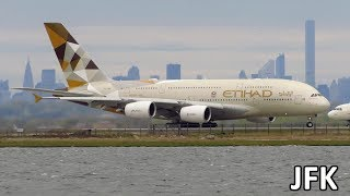 Download HEAVY ACTION! Planespotting at New York JFK: A380, 747, A340, 777, A330, 767, 757 [Full HD] Video