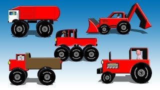 Download Red Vehicles For Kids - Dump Truck, Fire Engine, Garbage Truck, Monster Truck, Tractor and Backhoe Video
