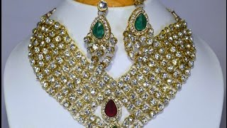 Download bridal necklace set - designer heavy arcylic stone bridal wedding necklace set from india Video