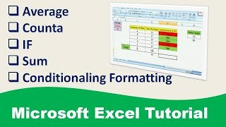 Download Excel Tutorial, Average, If, Counta, Sum with Conditionaling formatting in hindi Video