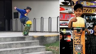 Download Incredible 3-Year-Old Skateboarder Won't Give Up On Stair Jump Until He Lands It Video