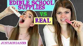 Download DIY EDIBLE SCHOOL SUPPLIES VS REAL SCHOOL SUPPLIES - BACK TO SCHOOL FUNNY PRANKS / JustJordan33 Video