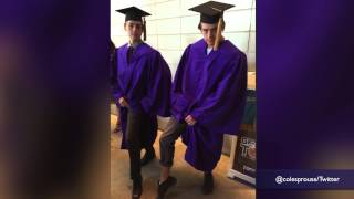 Download Dylan and Cole Sprouse switch places at their NYU graduation Video