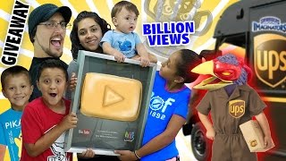 Download GOLD PLAY BUTTON GIVEAWAY! + 1 Billion Views Trophy? (Skylander Boy and Girl Special Delivery) Video