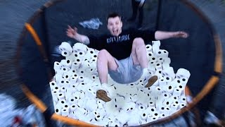 Download EXTREME DIY 1000+ TOILET ROLL TRAMPOLINE JUMP!! Video