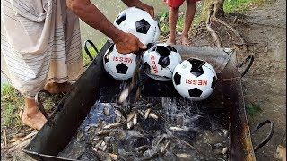 Download Unique Fish Trapping System In Football - New Technique Of Catching Country Fish - Football Fishing Video