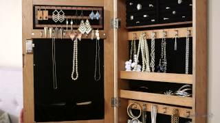 Download Distressed Wall Mount Mirrored Jewelry Armoire - Natural - Product Review Video Video