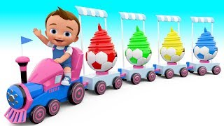 Download Learn Colors for children with Chuchu train Ice cream soccer ball cups colours for kids educational Video