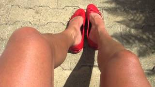 Download red ballet flats - hot summer day outdoor shoeplay part 2 Video